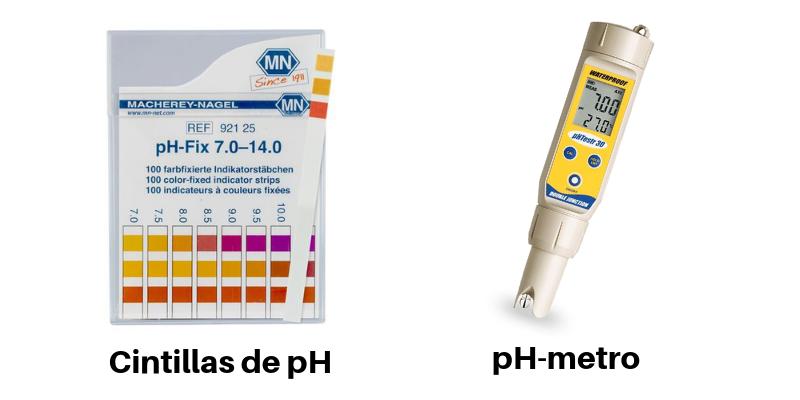 Cintillas de pH y pHmetro